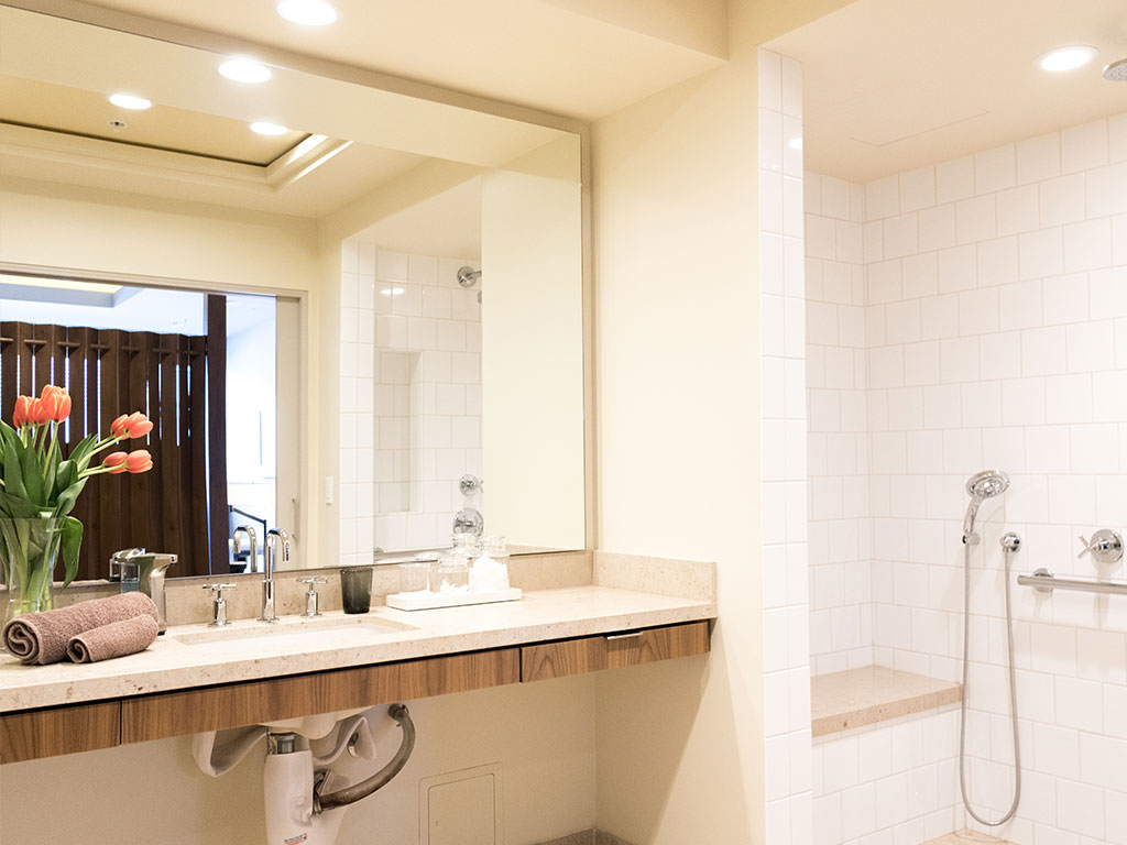 Deluxe Room Bathroom with Roll-In Shower.
